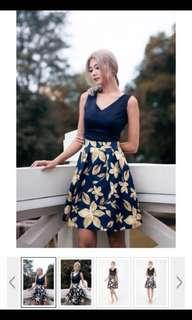 MGP Label Navy Dress with Gold Floral Prints