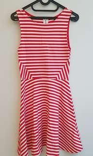 H&M RED & WHITE STRIPES DRESS