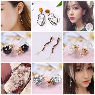 Korean Style Dinner Earrings and Pearl Necklace