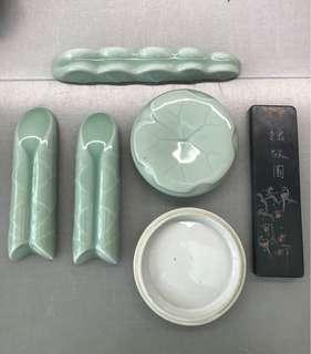 Porcelain stationary set 文房四宝