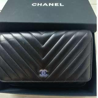 Chanel wallet on chain gold hardware chevron lambskin