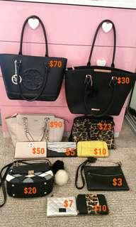 Assorted bags+wallets