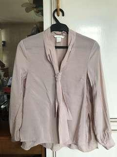H&M Pink Tie Blouse
