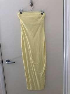 Kookai yellow column midi dress size 1