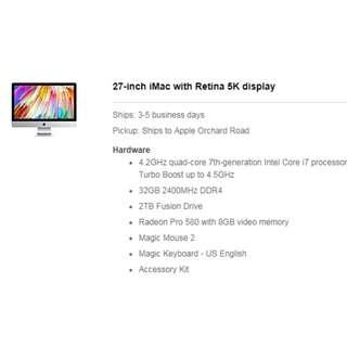 27-inch iMac with Retina 5K display (Customize Set) 12 Mth installment $530.33/month