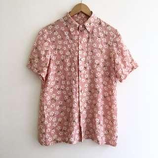 Vintage Silk Floral Button-up Shirt