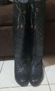 Knee High Black Quilted Boots