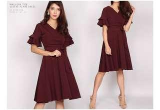 TDC Maroon Fluttery Dress
