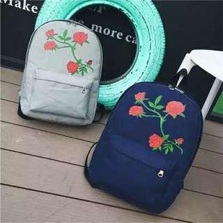 WOMEN'S CASUAL SCHOOL PRINTED ROSE SHOULDER BACKPACK BAG
