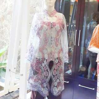 Kebaya Modern Wanita Silver dan Rose Pink Plus Camisol