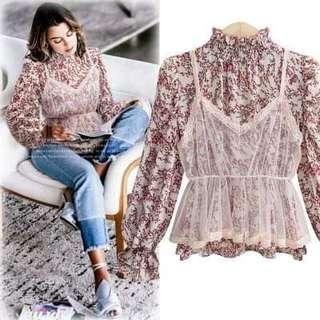 Mini Flower shirt with little lace top