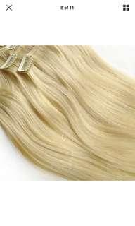 "#60 platinum blonde 👱‍♀️ clip ins 16"" thick real rent hair"