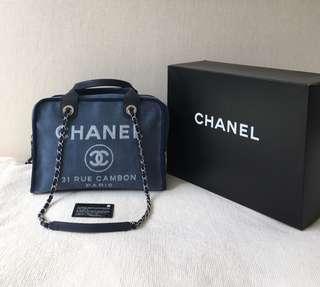 100% Authentic Chanel Deauville Canvas Bowling 2Way Tote/Shoulder Bag, Large, Denim Navy Blue