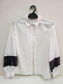 ZARA White Top with Sequin (XS)