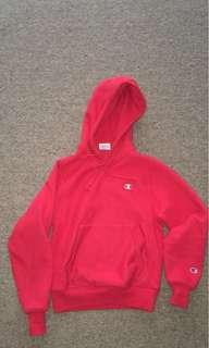 RED CHAMPION REVERSE WEAVE HOODIE XS