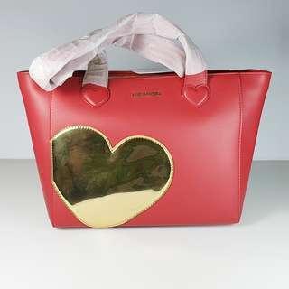 🚚 Clearance Sale! Love Moschino - Borsa Calf PU Rosso + TPU Oro Shoulder Bag