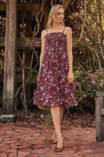 🚚 ✨ bnwt bnip tcl the closet lover adalynn floral printed midi dress in russet brown