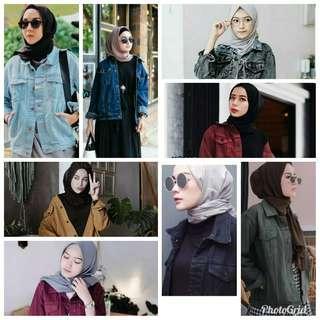 Jaket denim wanita oversize muslimah