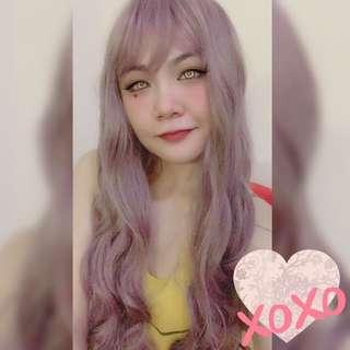 Long Curly Hair with Bangs Rose Gold Wig