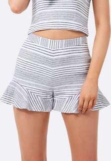 Forever new stripe linen high waisted frill shorts