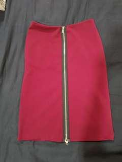 Red Pencil Zip Skirt
