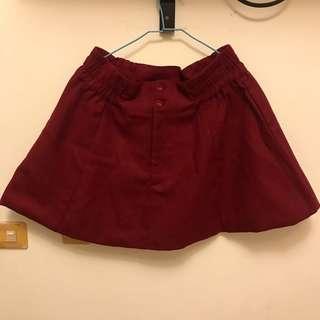 🚚 秋冬來件酒紅毛呢短裙#十二月女裝半價
