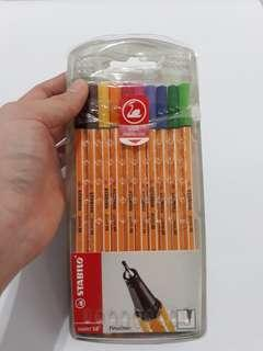 Stabilo Fineliner Pens/Markers Set (Black, Brown, Yellow, Orange, Red, Pink, Blue, Green)