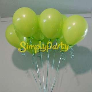 Lime Green Helium Balloons