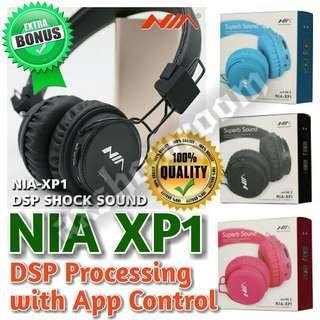 Wireless Bluetooth Stereo DSP Processing Headset NIA XP1  Free Premium Aux Audio Cable