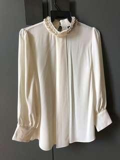 Korean Long Sleeve Beaded Collar Chiffon Blouse