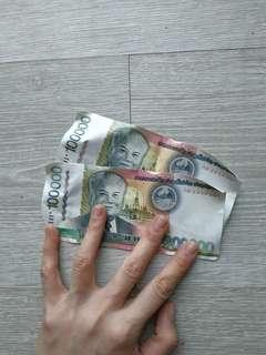 200000 Laotian Kips worth RM95