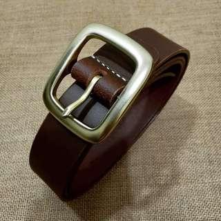 Dark Brown Belt with Solid Brass Buckle