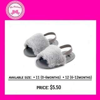 🚚 🎀New Arrivals! Instock Light Grey Faux Fur Baby Sandals
