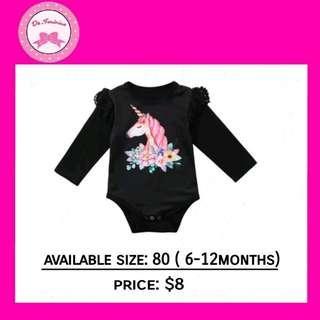 🚚 ✔ In-stock! Black Long Sleeve Ruffles Unicorn Rompers