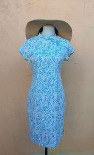 Blue Floral Chinese Dress (M)
