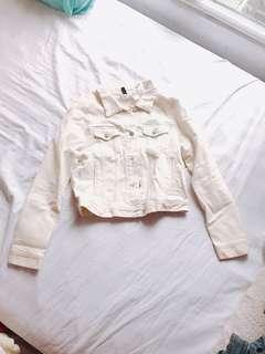 H&M米黃色牛仔外套$50