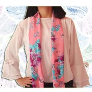 Crepe Long Pink Scarf (New)