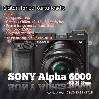 Cicilan Kamera Sony Alpha 6000 kit 16-50mm, proses cepat tanpa kartu kredit