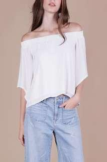🚚 The Tinsel Rack White Off Shoulder Top
