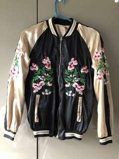 Embroidered Reversible Bomber Satin