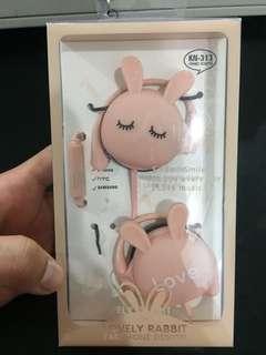 Lovely pink rabbit earphone