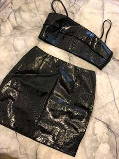 Faux Leather Two Piece Set