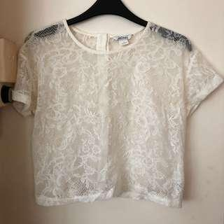 🚚 Monki Sheer White Lace Top