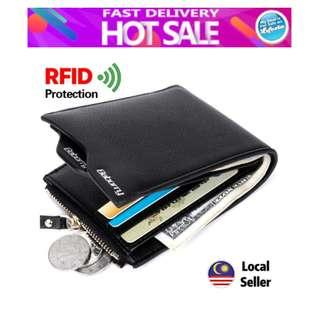 Baborry Premium quality Men Short Wallet with the Zipper RFID Theft Protection