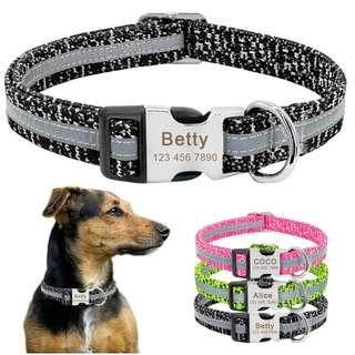 Personalized Custom Engraved ID Tag Collar For Small Medium Large Dogs