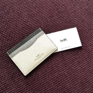 BN AUTH COACH Card Holder Crossgrain Leather Chalk/Multi Color