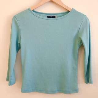 Turquoise 3/4 sleeve blouse