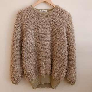 Brown faux wool sweater