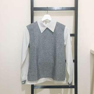 Grey Collar Top