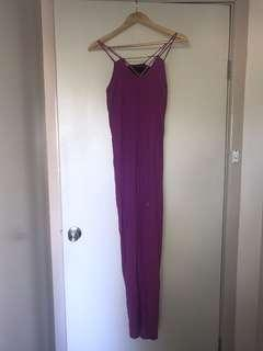 WISH purple maxi dress with hardware detail